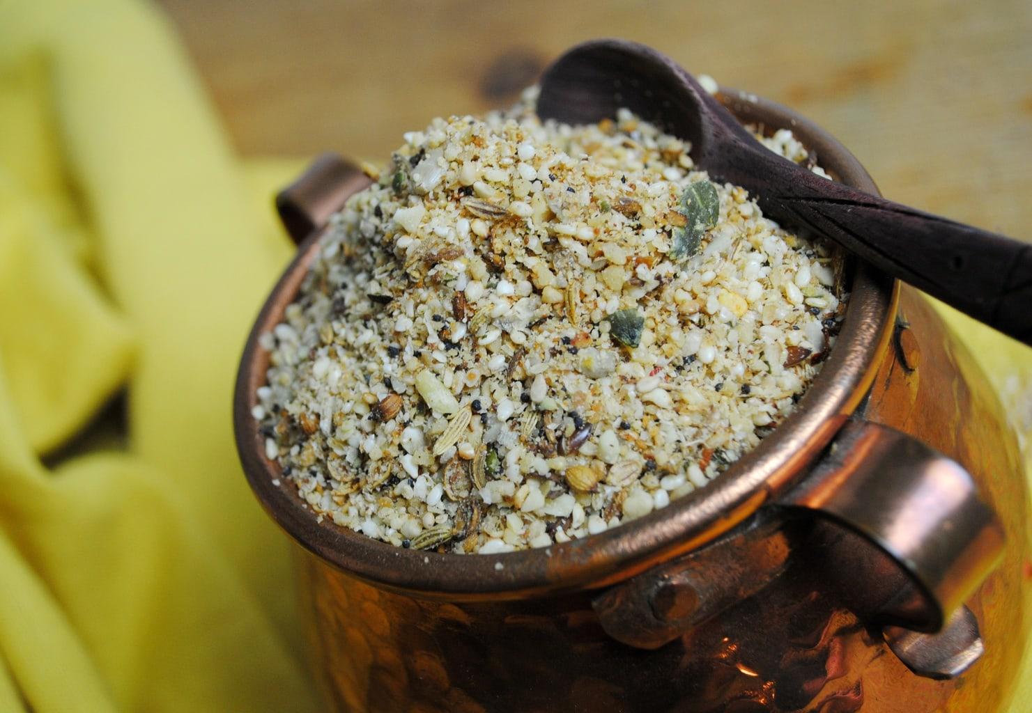 Dukkah: mezcla de frutos secos, semillas y especias egipcia.