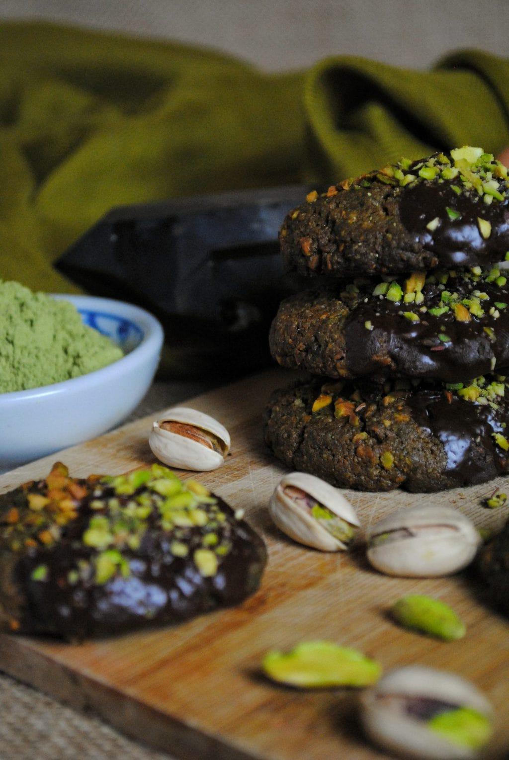 galletas de pistacho y te verde matcha