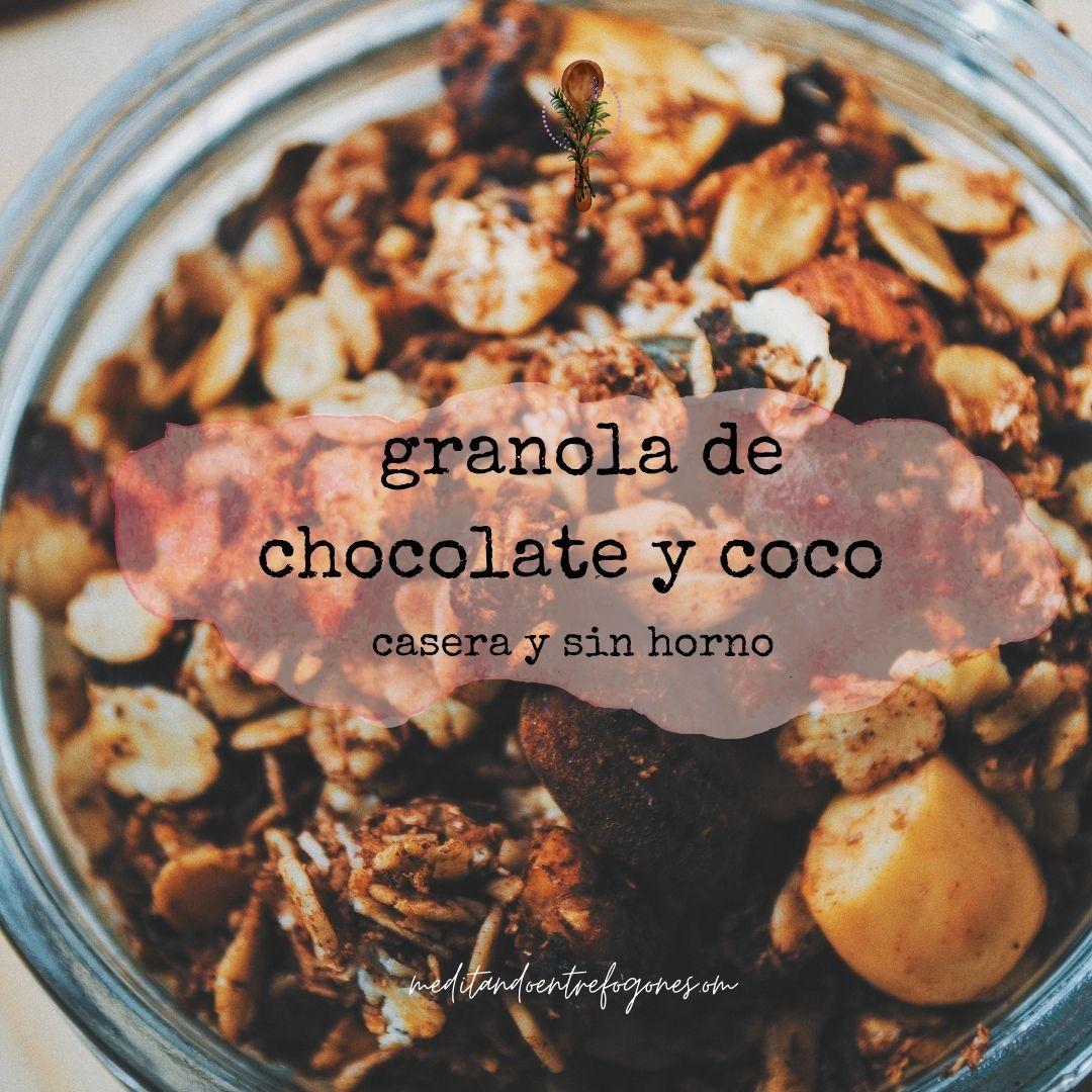 granola casera de chocolate y coco hecha a la sartén